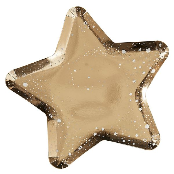 Ginger ray gold star shaped paper plates