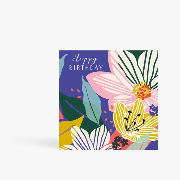 Abstract Flowers Birthday Card