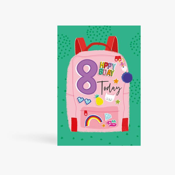 8 Today Backpack Birthday Card