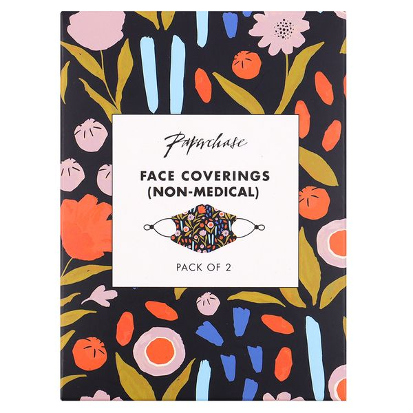 Dark floral face coverings - pack of 2