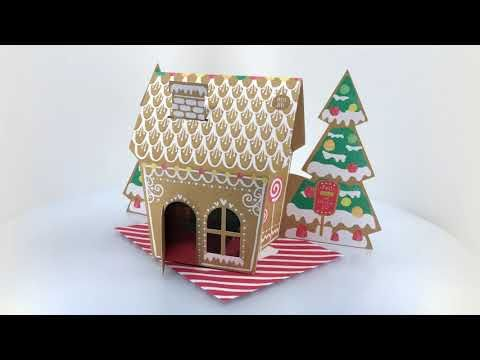 Light up gingerbread house Christmas card