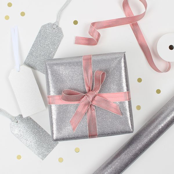 Silver glitter Christmas wrapping paper - 2m
