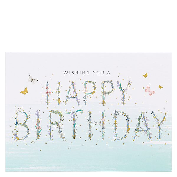 Happy Birthday Floral Letters Card